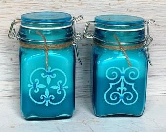 Turquoise jar candle set