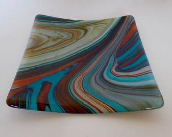 Small flat Southwest Swirl dish, 16 cm square, unique pattern.