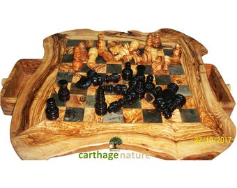 Engraved chess board etsy saint patrick gift easter gift birthday gift olive wood rustic chess set board negle Gallery