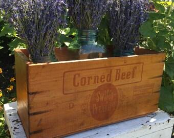 Vintage Wood Swift's Premium Corned Beef Box - From Argentina- Vintage Wooden Storage Box