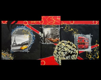 large painting triptych mixed media-London-new york - paris