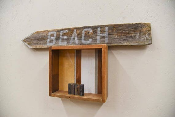Hand painted 'Beach' barn wood sign, farmhouse chic, rustic decor, barnwood sign, housewarming gift, home sweet home, gift for her, handmade