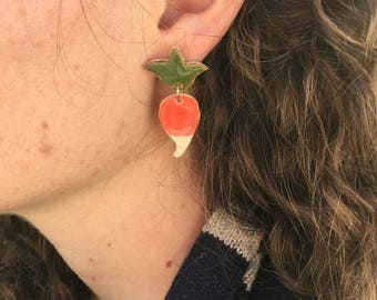 Dirigible Plum Ceramic Earrings - Radish earrings - Luna Lovegood earrings