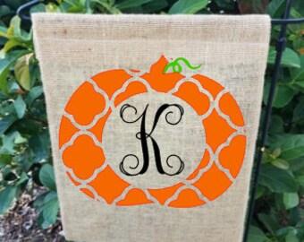 Pumpkin Monogrammed Burlap Flag / Fall Garden Flag / Personalized Garden Flag / burlap garden flag