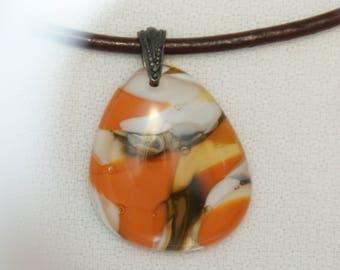 Orange & White Fused Glass Necklace