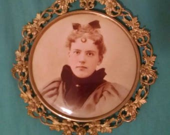 Large Antique Round Photo in Metal Frame, Columbia Portrait Company, Chicago
