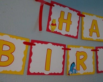 Winnie The Pooh Red and yellow Happy Birthday Banner,Winnie the pooh and friends Banner,Winnie the Pooh Party