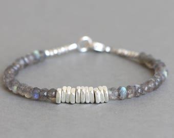 Labradorite Bracelet Beaded Bracelet Stacking Bracelet Gemstone Bracelet Hill Tribe Silver Bracelet