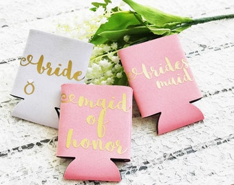 Custom Bridesmaid Maid of Honor Cooler Set - Bachelorette Favors - Bridesmaid Proposal - Bridal Can Coolers - Bridal Party Gift - Bride Cozy