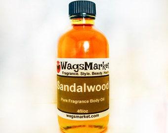 Sandalwood, Roll On Bottle, 1/3oz, 1oz, Pure Fragrance Body Oil