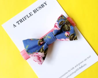 Blue and pink floral bow headband