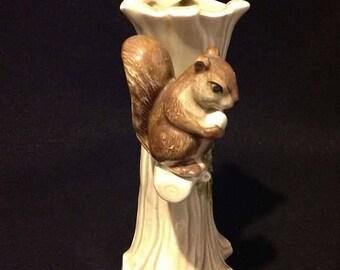 Wodland Vintage Bud Flower Vase Squirrel Holding Acorn Sitting On a Branch