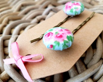 Pink Floral Button Hair Grip