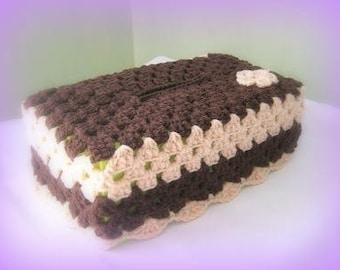 Cover box with handkerchiefs crochet Granny Brown handmade crochet France