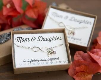 Mom & Daughter Infinity Bracelets, Set of Two Infinity Charm Bracelets, Infinity Pendant, Personalized Jewelry, Custom Infinity, Infinity