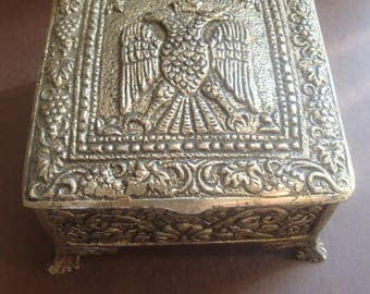 Vintage Ornate Metal Jewellery Trinket Box / Case Byzantine Eagle