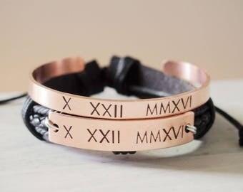 Personalized Roman numeral bracelet, couples bracelets, copper, Roman numeral jewelry, Roman numeral cuff Roman numeral id bracelet, Custom