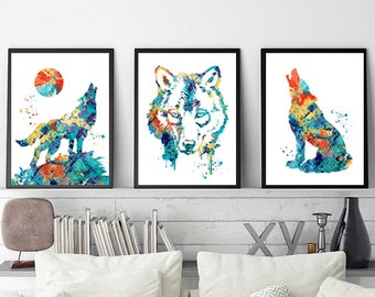 Wolves Watercolor Art Print, Set of 3 prints, Wolf wall art, Buy 2 get 1 free,Wolf watercolor, Home decor, Wolf set, Wild Forest animal art