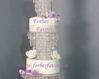 Set of 3 Glamorous Ice Crystal Cake Stand Wedding and Special Events with Reinforced Acrylic Stands