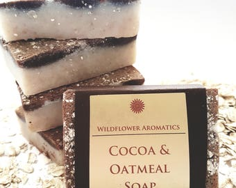 Cocoa & Oatmeal Soap, handmade soap, natural ingredients, exfoliating, unscented, gentle ingredients, skincare, bath soap, hand soap
