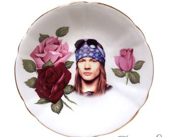 Vintage - Illustrated - Axl Rose - Guns N' Roses - Saucer Plate -  Wall Display - Altered Plate - Antique - Upcycled - Art