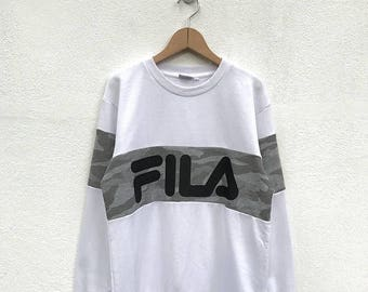 20% OFF Vintage Fila Big Logo Sweatshirt/Fila Sweater/Casual Clothing/Fila Sport Sweater/Fila Italia/Fila Color Block/Streetwear