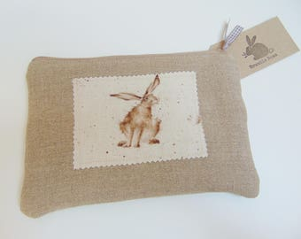 Handmade Hare Makeup Bag, Wrendale Designs fabric, Country Bunny Rabbit & Linen Pencil Case or Pouch
