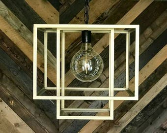 Gold Cubed Pendant Chandelier