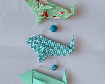 Garland three fish blue-green Japanese paper origami ball felt, Bell and assorted beads