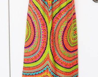 Fabulous long vintage psychedelic print maxi skirt XS