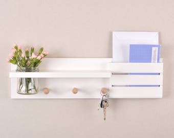 Entryway Organiser - Mail Holder - shelf with Shaker Pegs and Mason jar in White