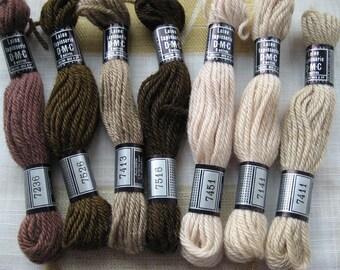 7 échevettes laine tapisserie ancien DMC 8 mètres tons marron et beige