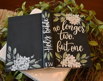 Hand Painted Bible | Wedding Gift | Guest Book | Wedding Decor | Wedding Keepsake | Home Decor