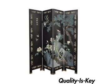 Vintage Oriental Asian Chinese Carved Painted Bird Dressing Screen Room Divider