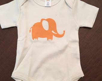 Elephant Organic Cotton Baby Clothes Custom Screen Printed Onesie 0-3mo