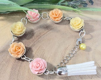Pastel Bracelet, Flower Bracelet, Rose bracelet, Ladies gift, Silver, Jewellery, Romantic jewellery, Birthday, Gift, Gift for Her, OOAK