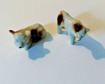 Brown and White miniature cow figurines, small shadowbox cows, porcelain animals, tiny cows, home decor collection, farmhouse collection