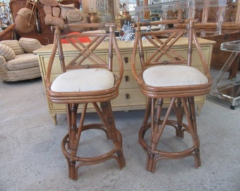 Cross Back Bamboo Bar Stools