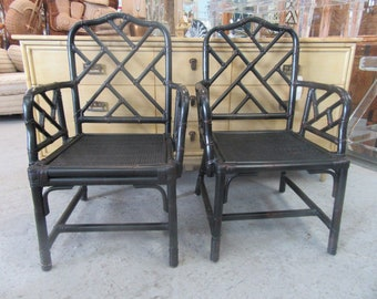 Rattan Chippendale Arm Chairs