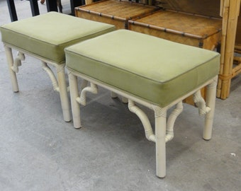 Pair of Rattan Willow & Reed Benches