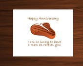 happy anniversary, lucky to have you, steak, anniversary gifts for men, anniversary card for him, anniversary men, anniversary men gift