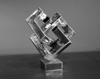 Metal  art cube abstract sculpture illusion decor steel  gift from handmade - trefoil metal art escultura