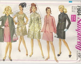 Vintage SIMPLICITY 7904 Pattern Collarless A-line Dress with Jacket, Coat Sz 12 Bust 34 Factory Folds 1960s
