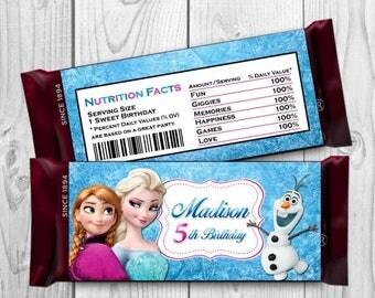 Frozen Candy Bar Wrapper - Frozen Birthday Party - Frozen Printables - Frozen Tags - Frozen Favors - Frozen Hershey