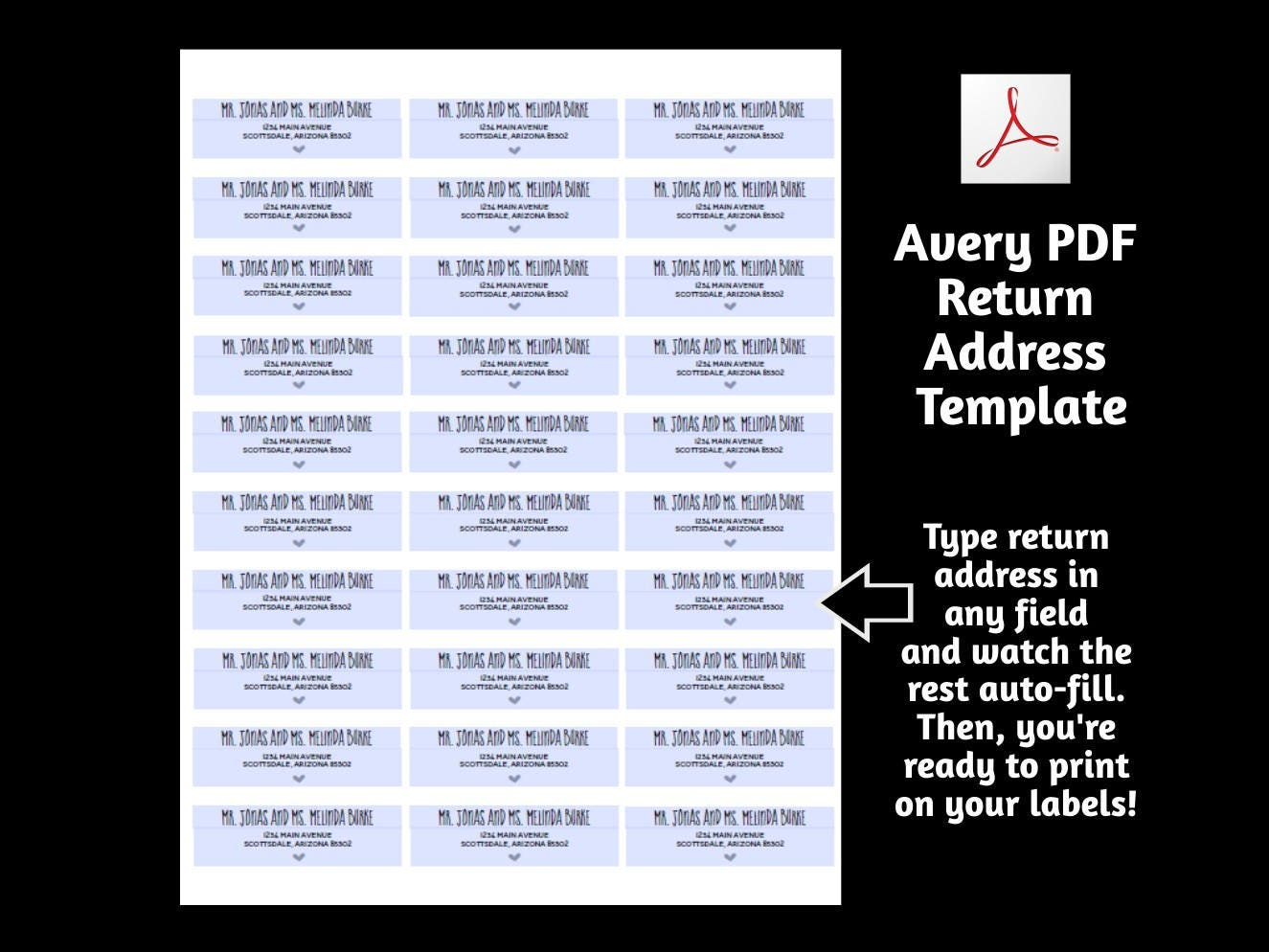 Printable address template for envelope labels avery 2 x for Avery 18663 template