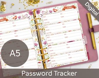 A5 Password Tracker Printable, Filofax A5 printable refills, Password Log Keeper Journal, Nilaria Red Bird DIY Planner PDF Instant Download