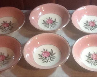 "Vintage, 6 Cunningham and Pickett, Norway Rose, Hand Painted, 5.25"" Fruit/ Dessert Bowls, Shabby Chic, Cottage, Pink Trim"