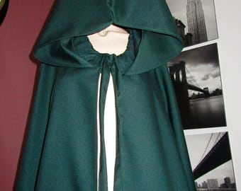 Dark Green  wool blend Cloak Full Circle Cloak,Wedding Cloak,Green Full Cloak,Halloween cosplay ,Medieval Cloak@sohoskirts