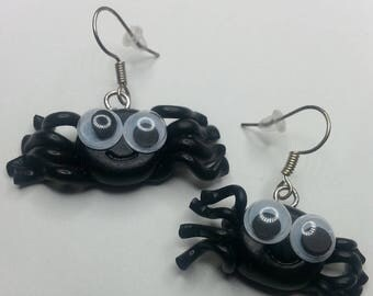 "Earrings fimo ""funny black spider"""