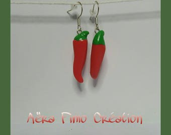 """Red pepper vegetable"" earring"